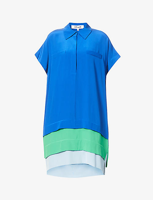 DIANE VON FURSTENBERG: Hatsu colour-block silk midi dress
