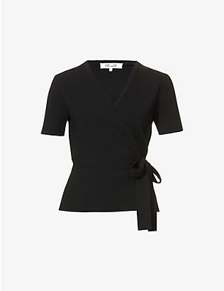 DIANE VON FURSTENBERG: Mirella wrap-over knitted top