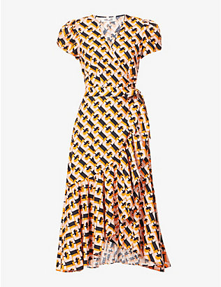 DIANE VON FURSTENBERG: Vienna graphic-print linen-blend midi dress