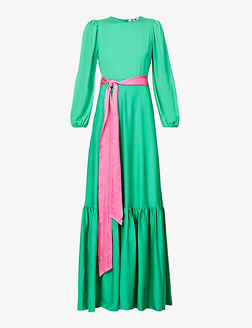 DIANE VON FURSTENBERG: Amabel puff-sleeve silk-blend maxi dress