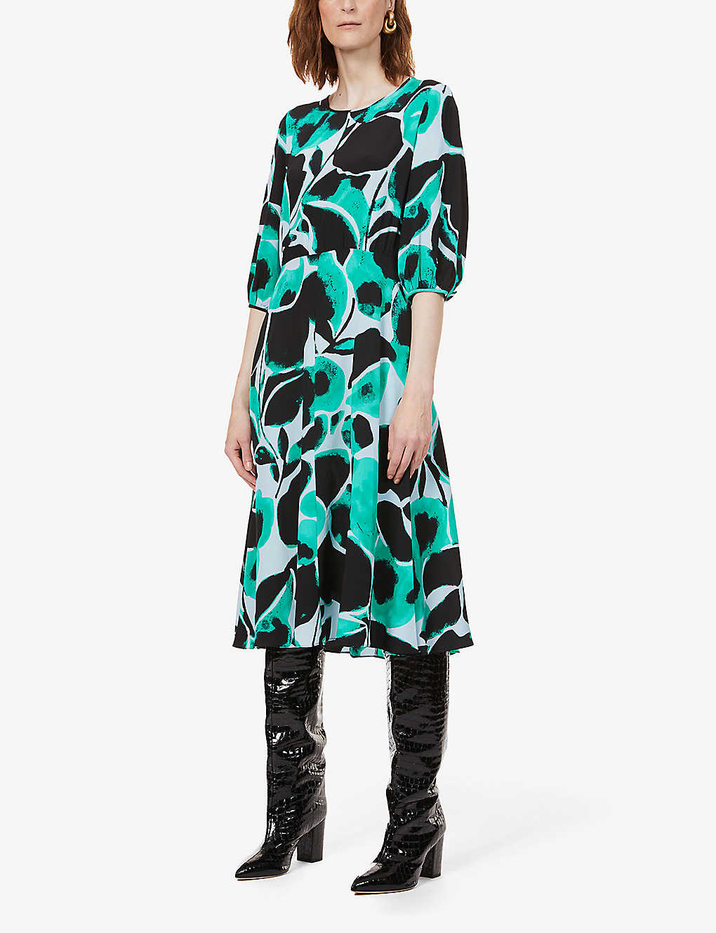 DIANE VON FURSTENBERG: Bliss graphic-print silk-crepe midi dress