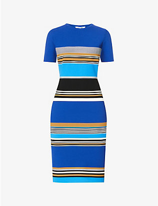 DIANE VON FURSTENBERG: Dasha striped knitted midi dress