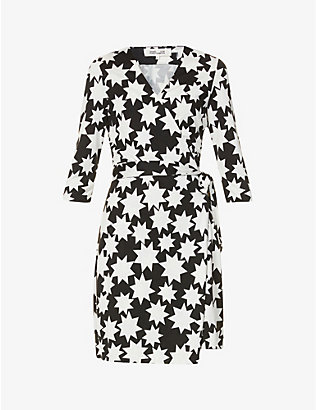 DIANE VON FURSTENBERG: New Julian Two star-print silk-knit mini wrap dress