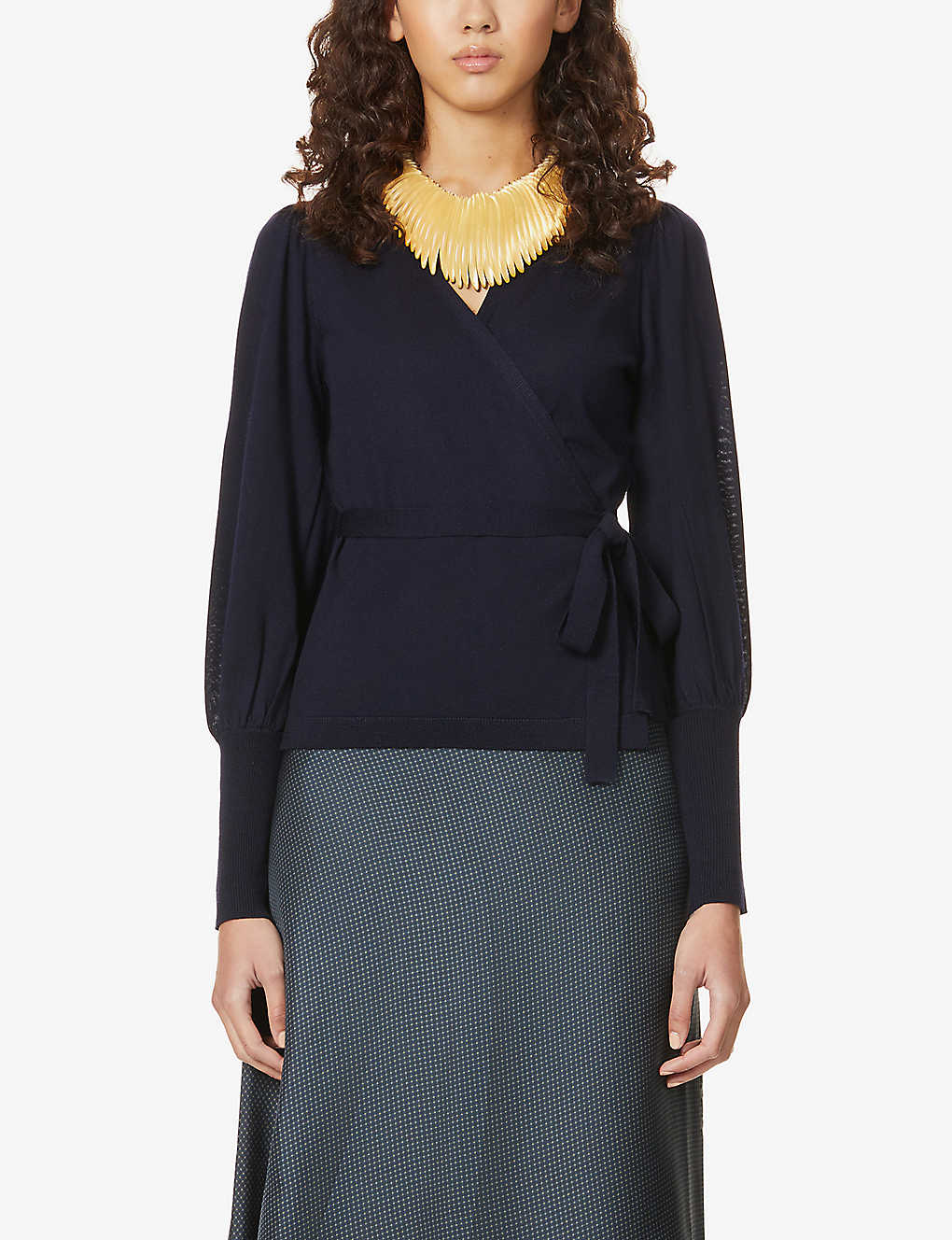 DIANE VON FURSTENBERG: Arielle wrap-over wool top
