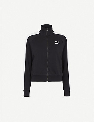 PUMA: T7 logo-print cotton-blend jacket