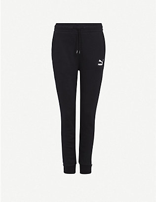 PUMA: T7 logo-print cotton-jersey jogging bottoms