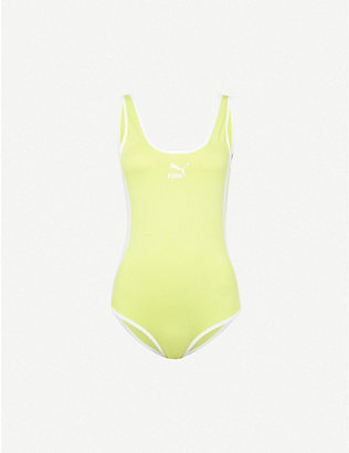 PUMA: T7 logo-print stretch-cotton bodysuit