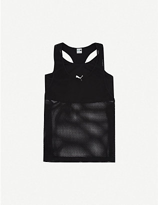 PUMA: Evide logo-print stretch-jersey and mesh top