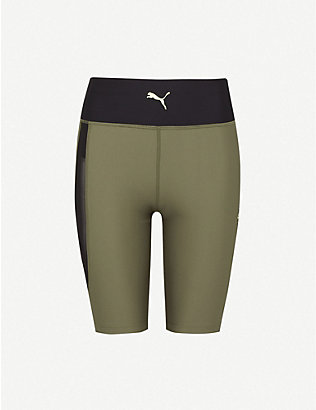 PUMA: Evide high-waist stretch-jersey shorts