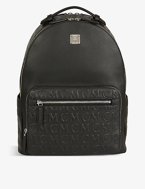 MCM: Stark monogram-embossed medium leather backpack
