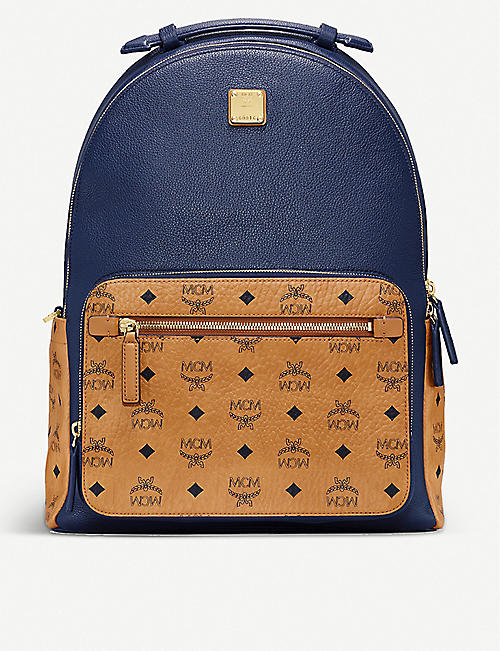 MCM: Stark brand-print medium coated-canvas backpack