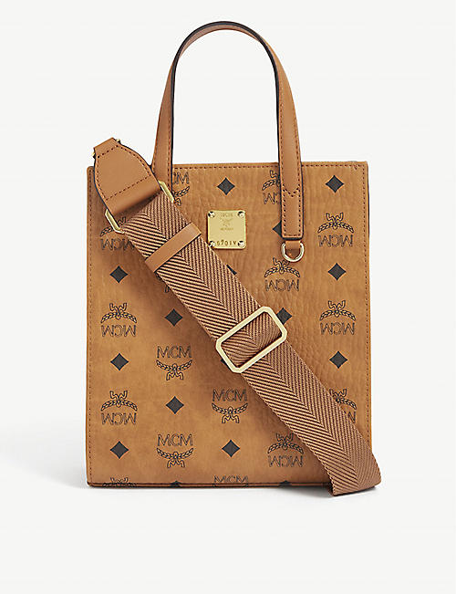 MCM: Klass Visetos Mini branded coated canvas tote
