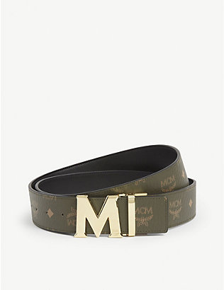 MCM: Claus reversible coated-canvas and 24ct gold-plated belt