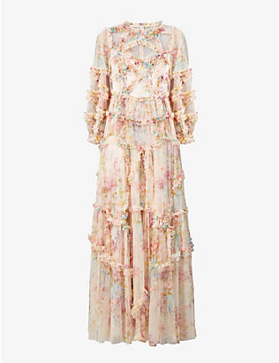 NEEDLE AND THREAD: Ruffle-trimmed floral-print tulle maxi dress