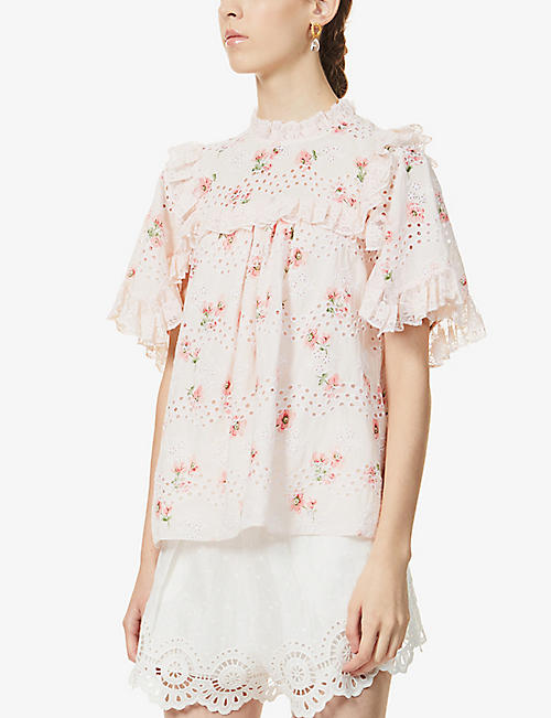 NEEDLE AND THREAD: Desert Rose floral-embroidered cotton-blend top