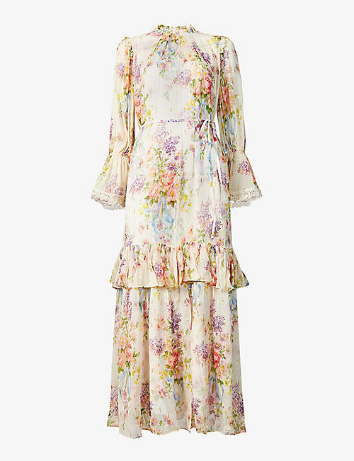 NEEDLE AND THREAD: Metallic floral-pattern chiffon maxi dress