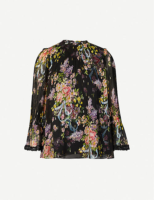 NEEDLE AND THREAD: Floral Diamond Elsa chiffon blouse