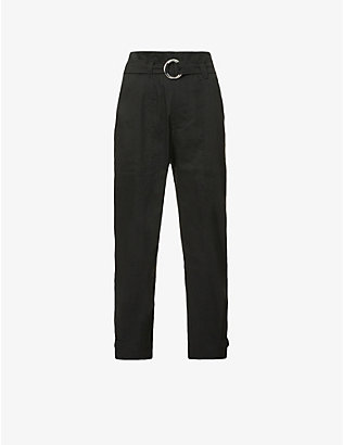 FRAME: Harem belted tapered high-rise linen-blend trousers
