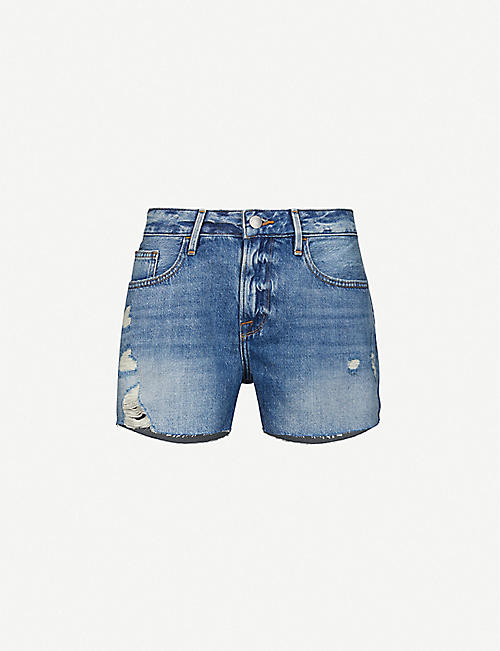 FRAME: Le Grand Garcon Raw high-rise denim shorts