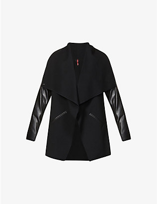 SPANX ACTIVE: Draped faux-leather and stretch-woven jacket