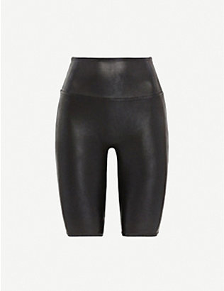 SPANX ACTIVE: High-rise faux-leather shorts