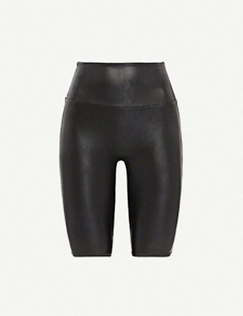 SPANX ACTIVE High-rise faux-leather shorts