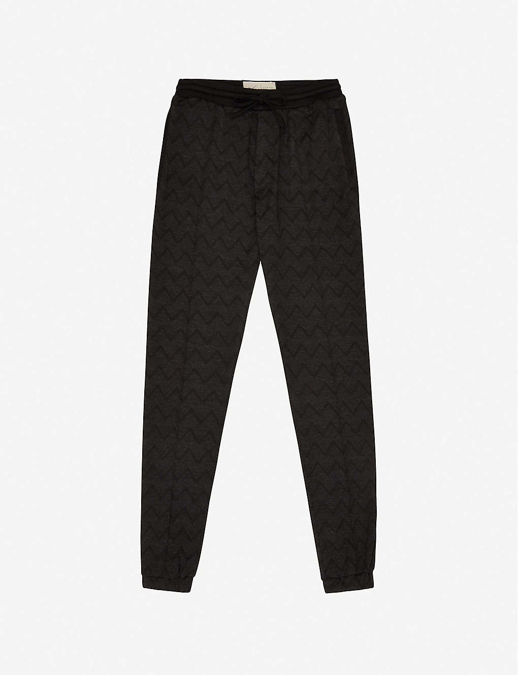 PREVU: Caspian zigzag knitted-jersey jogging bottoms