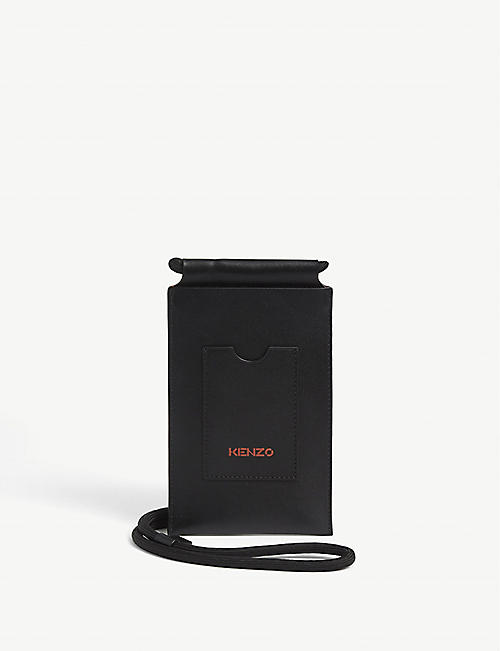 KENZO: Logo leather crossbody phone holder