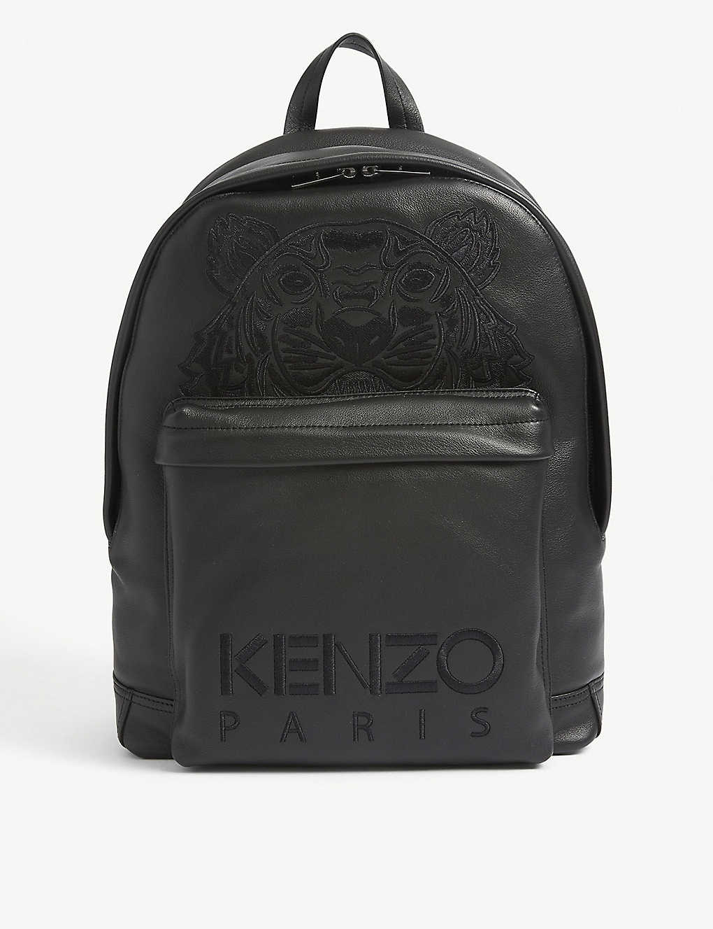 KENZO: Logo-embroidered leather backpack