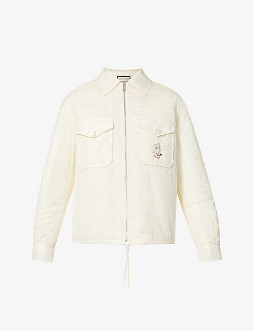 GUCCI: Kitten-embroidered shell jacket