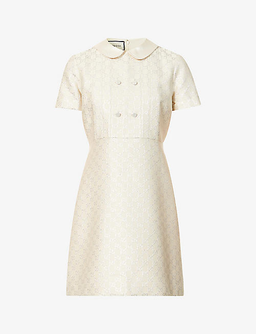 GUCCI: Branded pattern wool-blend mini dress