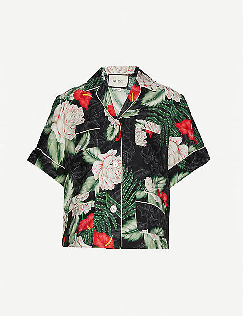 GUCCI: Hawaiian-print silk shirt