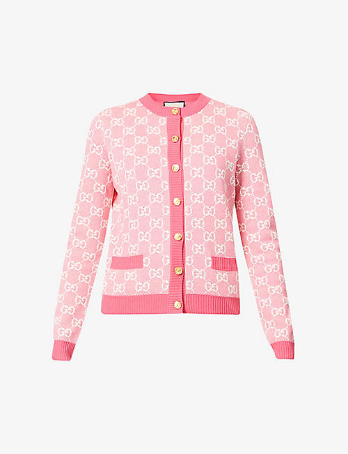 GUCCI: Monogrammed wool and cotton-blend knitted cardigan