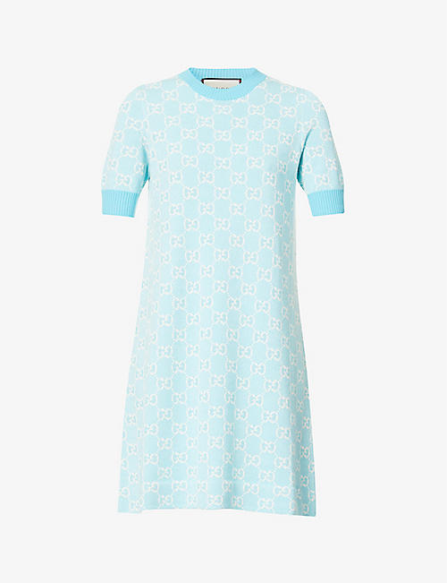 GUCCI: Logo-pattern wool and cotton-blend knitted mini dress