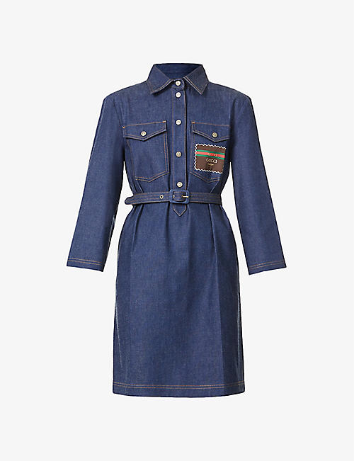 GUCCI: Belted denim mini dress