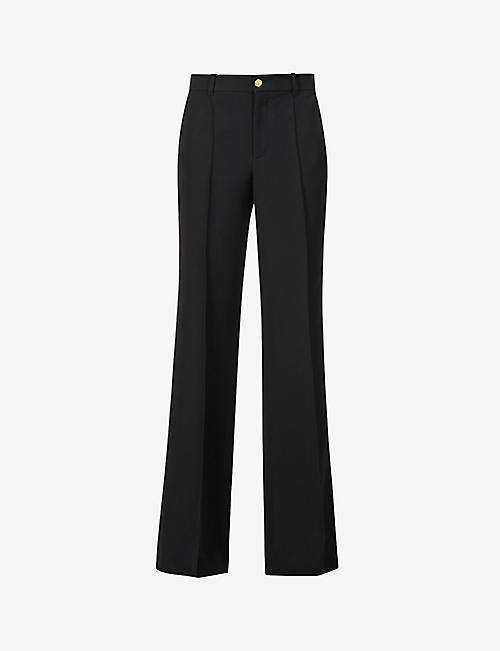 GUCCI: Wide-leg mid-rise silk and wool-blend trousers