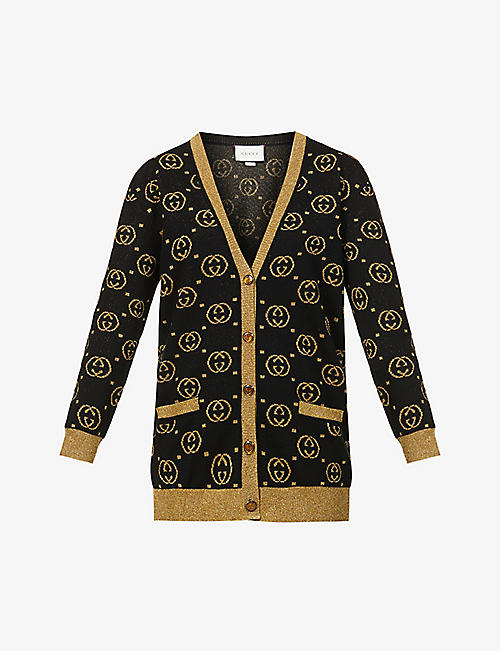 GUCCI: Monogrammed wool-blend knitted cardigan