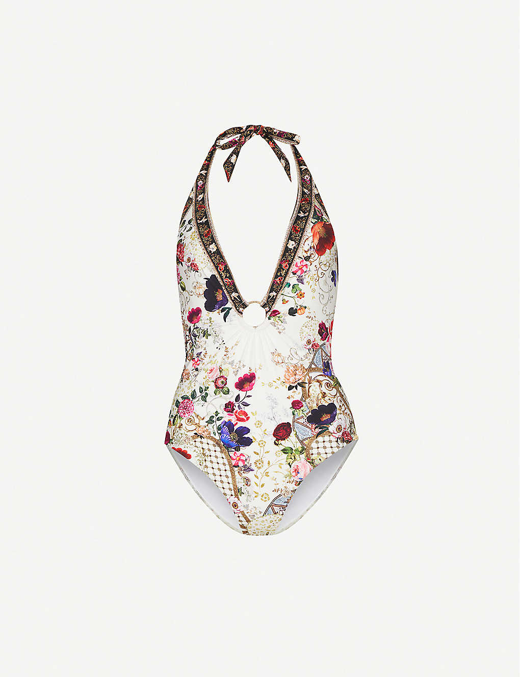 CAMILLA: Fairy Godmother floral-print crystal-embellished swimsuit