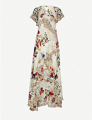 CAMILLA: Fairy Godmother floral-print embellished silk maxi dress