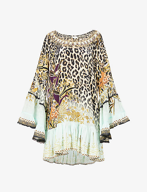 CAMILLA: Animal-print silk-crepe mini dress
