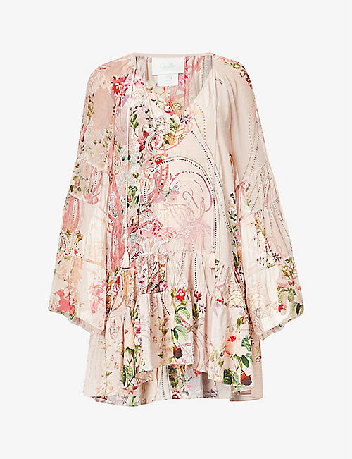 CAMILLA: Istenanya printed silk-crepe mini dress