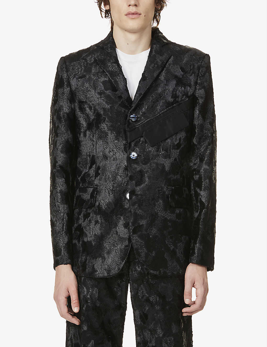 NICOMEDE: Single-breasted faux-fur blazer