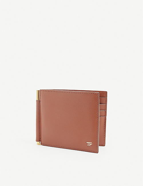 TOM FORD: T-Line leather money clip wallet