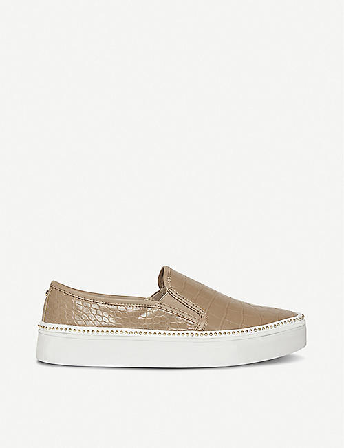 DUNE: Esha snakeskin-embossed faux patent leather trainers