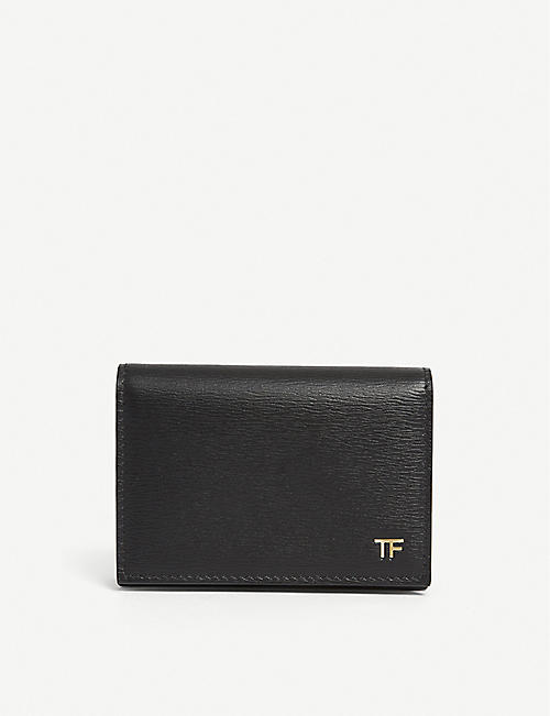 TOM FORD: Gold-tone logo-detail leather wallet