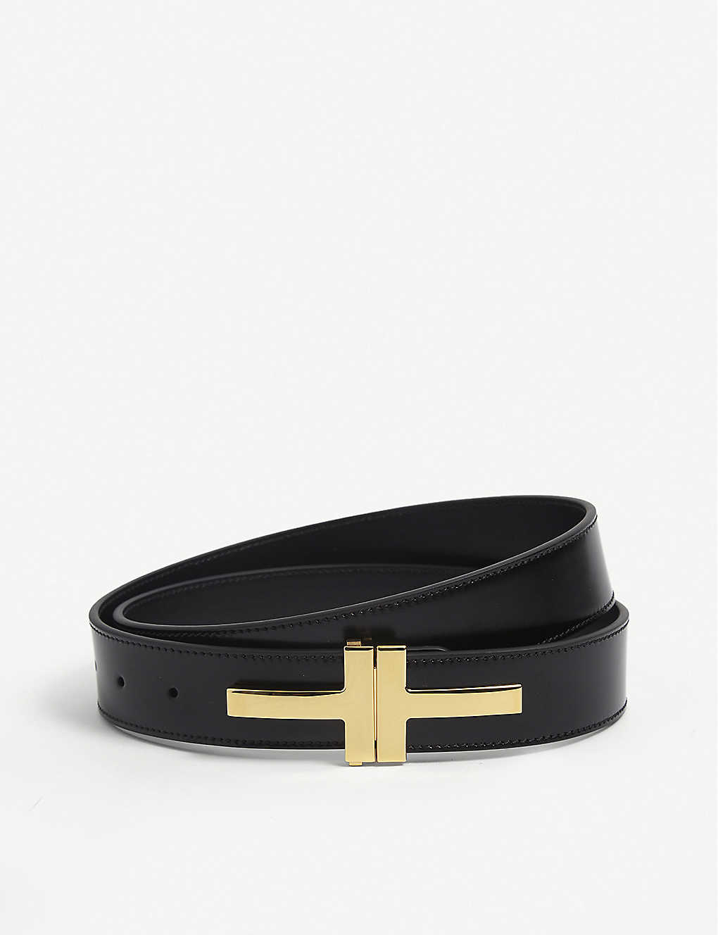 TOM FORD: T-Buckle leather belt