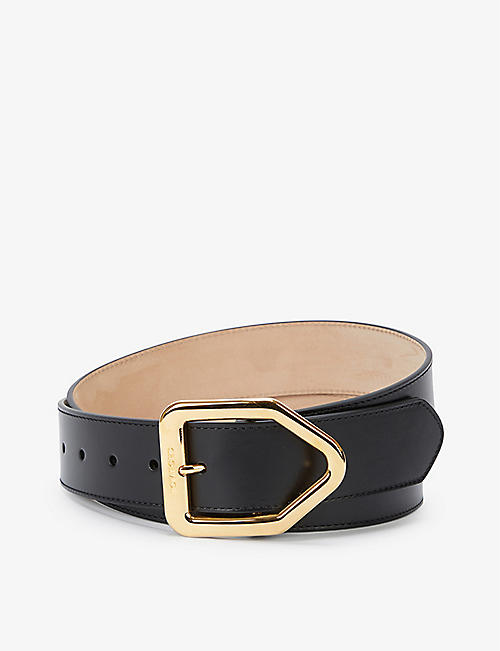 TOM FORD: Logo-engraved leather belt