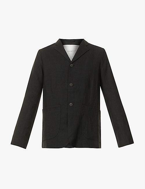 TOOGOOD: Metalworker stripe-print wool and linen-blend blazer