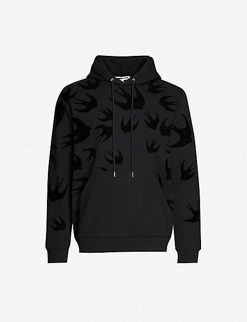 MCQ SWALLOW: Swallow-print flocked cotton-jersey hoody