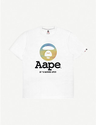 AAPE: Moonface-print cotton T-shirt